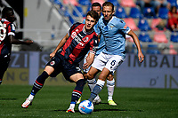 Aaron Hickey of Bologna FC and Lucas Leiva of SS Lazio compete for the ball during the Serie A football match between Bologna FC and SS Lazio at Renato Dall'Ara stadium in Bologna (Italy), October 3rd, 2021. Photo Andrea Staccioli / Insidefoto
