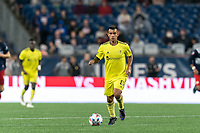 FOXBOROUGH, MA - AUGUST 4: Randall Leal #8 of Nashville SC brings the ball forward during a game between Nashville SC and New England Revolution at Gillette Stadium on August 4, 2021 in Foxborough, Massachusetts.