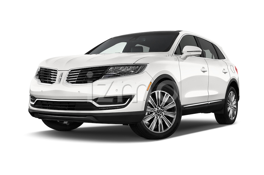 Stock pictures of low aggressive front three quarter view of 2018 Lincoln MKX Black Label 5 Door Suv Low Aggressive