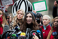 NEW YORK, NEW YORK - JANUARY 6: Sarah Ann Masse, center, speaks with members of the media after Harvey Weinstein arrives at the Manhattan courthouse. On January 6, 2020 in New York City. Weinstein pleaded not guilty to five counts of rape and faces a possible life sentence in prison. (Photo by Pablo Monsalve / VIEWpress)