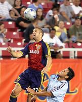 Chris Wingert and Christian Gomez in the COL @ Real Salt Lake 2-0  Real Salt Lake win at Rice Eccles Stadium in Salt Lake City, Utah on August 29, 2008