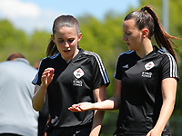 Marie Detruyer (17) of OHL gives a high five to Hannah Eurlings (9) of OHL before a female soccer game between Standard Femina de Liege and Oud Heverlee Leuven on the 10th and last matchday in play off 1 of the 2020 - 2021 season of Belgian Scooore Womens Super League , saturday 29 th of May 2021  in Angleur , Belgium . PHOTO SPORTPIX.BE | SPP | SEVIL OKTEM