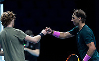 15th November 2020, O2, London, England;  Rafael Nadal of Spain fist pumps Andrey Rublev of Russia after their singles group match at the ATP, Tennis Mens World Tour Finals 2020 in London