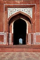 Agra, India.  Taj Mahal.  Side Entrance to the Mosque.