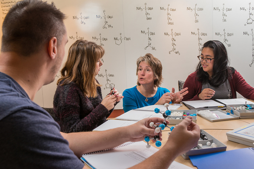 Chemistry A104 lab instructor Debora Summers helps students Brandon Gilliam, left, Madi Willets, center, and Leslie Cajimat, right, as they work on a pre-lab exercise using molecular models in the Conoco Phillips Integrated Science Building.