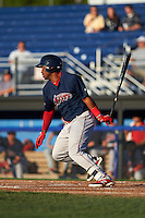 Lowell Spinners outfielder Kyri Washington (19) at bat during a game against the Batavia Muckdogs on August 12, 2015 at Dwyer Stadium in Batavia, New York.  Batavia defeated Lowell 6-4.  (Mike Janes/Four Seam Images)