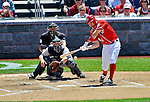 16 June 2012: Washington Nationals' third baseman Ryan Zimmerman connects against the New York Yankees at Nationals Park in Washington, DC. The Yankees defeated the Nationals in 14 innings by a score of 5-3, taking the second game of their 3-game series. Mandatory Credit: Ed Wolfstein Photo