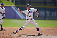 High Point Panthers third baseman Ryan Mason (20) makes a throw to first base against the NJIT Highlanders at Williard Stadium on February 19, 2017 in High Point, North Carolina. The Panthers defeated the Highlanders 6-5. (Brian Westerholt/Four Seam Images)