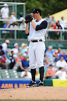 Trenton Thunder pitcher Nik Turley (45) during game against the Harrisburg Senators at ARM & HAMMER Park on July 31, 2013 in Trenton, NJ.  Harrisburg defeated Trenton 5-3.  (Tomasso DeRosa/Four Seam Images)