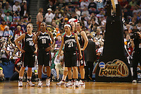 6 April 2008: Stanford Cardinal (L-R) JJ Hones, Candice Wiggins, Rosalyn Gold-Onwude, Kayla Pedersen, and Jillian Harmon during Stanford's 82-73 win against the Connecticut Huskies in the 2008 NCAA Division I Women's Basketball Final Four semifinal game at the St. Pete Times Forum Arena in Tampa Bay, FL.