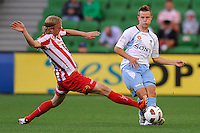 MELBOURNE, AUSTRALIA - FEBRUARY 12: Rutger Worm of the Heart blocks a kick in the round 27 A-League match between the Melbourne Heart and Sydney FC at AAMI Park on February 12, 2011 in Melbourne, Australia. (Photo Sydney Low / AsteriskImages.com)