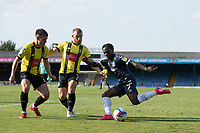 The Harrogate defence double up on Jordan Green, Southend United, during Southend United vs Harrogate Town, Sky Bet EFL League 2 Football at Roots Hall on 12th September 2020