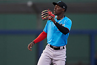 Miami Marlins second baseman Jazz Chisholm (2) waits for a throw down during a Major League Spring Training game against the Washington Nationals on March 20, 2021 at FITTEAM Ballpark of the Palm Beaches in Palm Beach, Florida.  (Mike Janes/Four Seam Images)