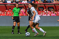 BRIDGEVIEW, IL - JULY 18: Sofia Huerta #11 of the OL Reign dribbles the ball during a game between OL Reign and Chicago Red Stars at SeatGeek Stadium on July 18, 2021 in Bridgeview, Illinois.