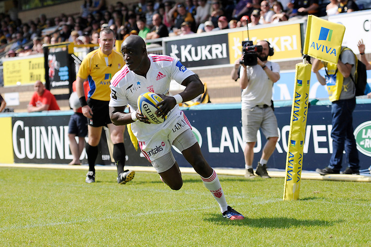 Djibril Camara of Stade Francais scores a try during the first leg of the European Rugby Champions Cup play-off match between London Wasps and Stade Francais at Adams Park on Sunday 18th May 2014 (Photo by Rob Munro)