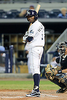 May 18, 2010 Outfielder Isaias Velasquez of the Charlotte Stone Crabs during a game at Charlotte Sports Park in Port Charlotte FL. The Stone Crabs are the Florida State League Class-A affiliate of the Tampa Bay Rays,Photo by: Mark LoMoglio/Four Seam Images