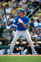 Toronto Blue Jays shortstop Ryan Goins (17) at bat during a Spring Training game against the Pittsburgh Pirates on March 3, 2016 at McKechnie Field in Bradenton, Florida.  Toronto defeated Pittsburgh 10-8.  (Mike Janes/Four Seam Images)