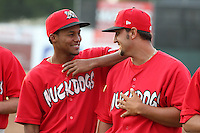 Batavia Muckdogs shortstop Yunier Castillo #7 with pitcher Iden Nazario #28 during the teams pre-season pep rally at Dwyer Stadium on June 15, 2011 in Batavia, New York.  Photo By Mike Janes/Four Seam Images