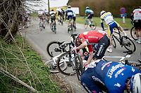 eventual race winner Kasper Asgreen (DEN/Deceuninck - Quick Step) was involved in a crash with about 100km to go<br /> <br /> 105th Ronde van Vlaanderen 2021 (MEN1.UWT)<br /> <br /> 1 day race from Antwerp to Oudenaarde (BEL/264km) <br /> <br /> ©kramon