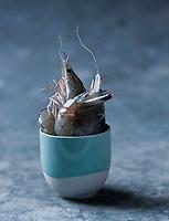 Gastronomie générale: Crevette obsiblue - Stylisme : Valérie LHOMME