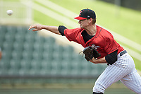 Kannapolis Intimidators starting pitcher Zach Lewis (28) delivers a pitch to the plate against the Greensboro Grasshoppers at Kannapolis Intimidators Stadium on August 5, 2018 in Kannapolis, North Carolina. The Grasshoppers defeated the Intimidators 2-1 in game one of a double-header.  (Brian Westerholt/Four Seam Images)