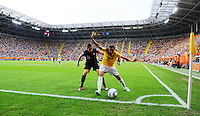 Alex Krieger of team USA (l) and Marta of Brazil during the FIFA Women's World Cup at the FIFA Stadium in Dresden, Germany on July 10th, 2011.