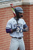 Kyle Battle (16) of the Old Dominion Monarchs waits for his turn to hit during the game against the Charlotte 49ers at Hayes Stadium on April 23, 2021 in Charlotte, North Carolina. (Brian Westerholt/Four Seam Images)