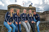2016, 12 April, Arena Loire, Trélazè,  Semifinal FedCup, France-Netherlands,  Dutch team at the `Chateau, ltr: Arantxa Rus, Cindy Burger, Kiki Bertens, Richel Hogenkamp and Captain Paul Haarhuis<br /> Photo:Tennisimages/Henk Koster