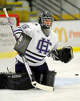 30 December 2007: Holy Cross Crusaders' goaltender Adam Roy, a Freshman from Feeding Hills, MA, warms up prior to a game against the Western Michigan University Broncos at Gutterson Fieldhouse in Burlington, Vermont. The teams skated to a 1-1 tie, however the Broncos took the consolation game in a 2-0 shootout to win the third game of the Sheraton/TD Banknorth Catamount Cup Tournament...Mandatory Photo Credit: Ed Wolfstein Photo