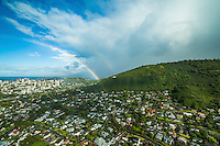 A double rainbow over Manoa Valley, Honolulu, O'ahu.