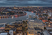 Night view of City of London and the Thames from Canary Wharf