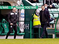 20th February 2021; Easter Road, Edinburgh, Scotland; Scottish Premiership Football, Hibernian versus Hamilton Academical; John Potter Assistant Hibernian head Coach and Jack Ross Hibernian Manager react to the challenge on Martin Boyle of Hibernian