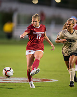 NWA Democrat-Gazette/BEN GOFF @NWABENGOFF<br /> Stefani Doyl, Arkansas midfielder, passes the ball in the first half vs Vanderbilt Thursday, Sept. 26, 2019, at Razorback Field in Fayetteville.