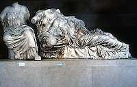 Greek Art:  Parthenon Sculptures, East Pediment--probably Hestia, Dione and Aphrodite.  Trustees of the British Museum.