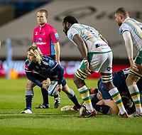 20th November 2020; AJ Bell Stadium, Salford, Lancashire, England; English Premiership Rugby, Sale Sharks versus Northampton Saints;  Faf De Klerk of Sale Sharks releases the ball