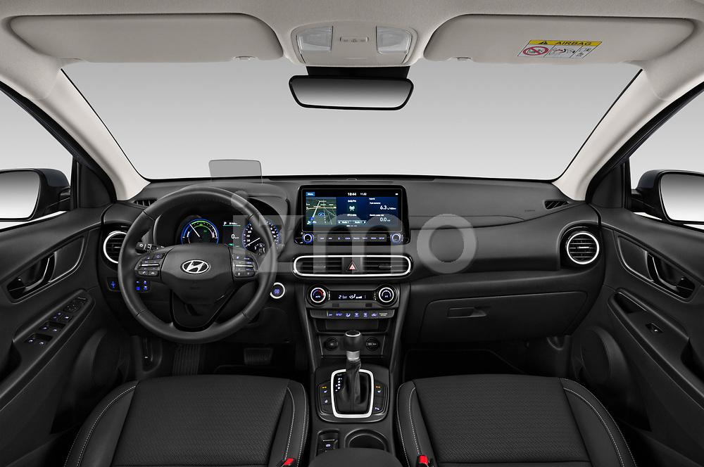 Stock photo of straight dashboard view of a 2020 Hyundai Kona Hybrid Sky 5 Door SUV