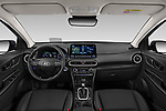 Stock photo of straight dashboard view of a 2020 Hyundai Kona Hybrid Sky 5 Door SUV