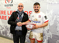 Saturday 22nd February 2020 | Ulster vs Cheetahs<br /> <br /> Bill Johnston wins the Go Power Man Of The Match Award  during the PRO14 Round 12 clash between Ulster and the Cheetahs at Kingspan Stadium, Ravenhill Park, Belfast, Northern Ireland. Photo by John Dickson / DICKSONDIGITAL
