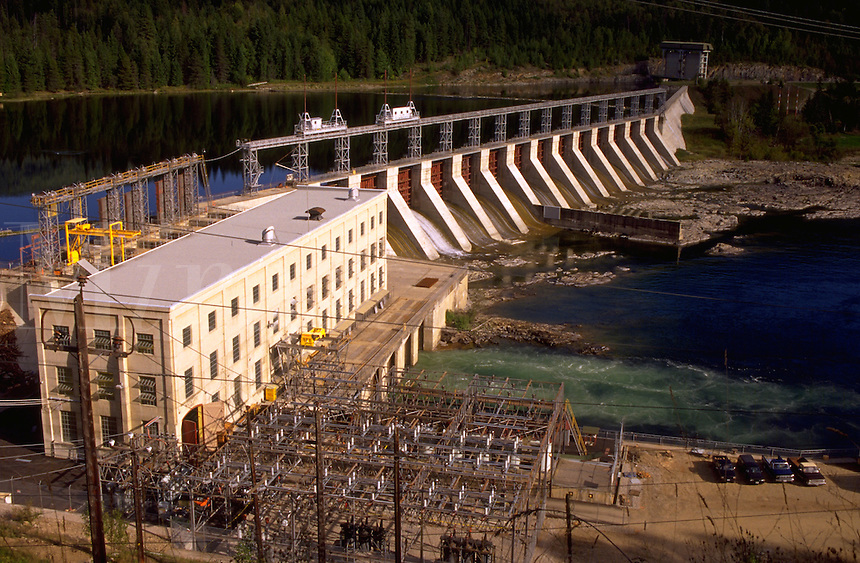 Aerial view of the West Kootenay Power Canadian hydropower dam. British Columbia (BC), Canada.