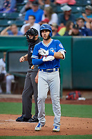 Drew Jackson (22) of the Oklahoma City Dodgers at bat against the Salt Lake Bees at Smith's Ballpark on July 31, 2019 in Salt Lake City, Utah. The Dodgers defeated the Bees 5-3. (Stephen Smith/Four Seam Images)