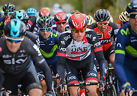 Alejandro Valverde (ESP/Movistar team) in the pack (next to Greg Van Avermaet)<br /> <br /> 103rd Liège-Bastogne-Liège 2017 (1.UWT)<br /> One Day Race: Liège › Ans (258km)