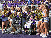 Young Husky fan Avery Huffman acknowledges the crowd during a break in the action.