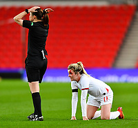 Sport Bilder des Tages 13th April 2021; Bet365 Stadium, Stoke, England; Lauren Hemp of England is injured during the womens International Friendly between England and Canada