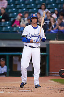 Chattanooga Lookouts first baseman Dalton Hicks (52) at bat during a game against the Jacksonville Suns on April 30, 2015 at AT&T Field in Chattanooga, Tennessee.  Jacksonville defeated Chattanooga 6-4.  (Mike Janes/Four Seam Images)