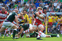 Ben Morgan of Gloucester Rugby scores a try late in the first half during the Aviva Premiership match between London Irish and Gloucester Rugby at the Madejski Stadium on Saturday 8th September 2012 (Photo by Rob Munro)