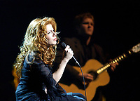 April 4. 2002, Montreal, Quebec, Canada; <br /> <br /> Isabelle Boulay perform with the Montreal Symphonic Orchestra, April 4 2002<br /> <br /> <br /> NOTE :  D-1 H original JPEG, saved as Adobe 1998 RGB