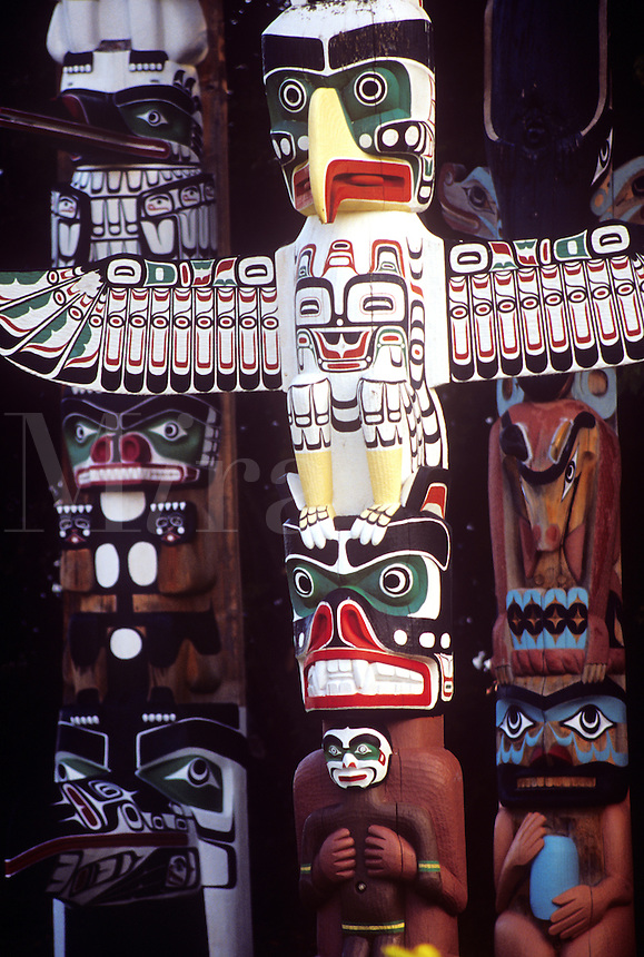 Totem poles located in Stanley Park. Vancouver B.C. Canada