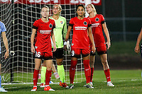 Piscataway, NJ - Sunday Sept. 25, 2016: Emily Sonnett, Caroline Casey, Nadia Nadim, Allie Long during a regular season National Women's Soccer League (NWSL) match between Sky Blue FC and the Portland Thorns FC at Yurcak Field.