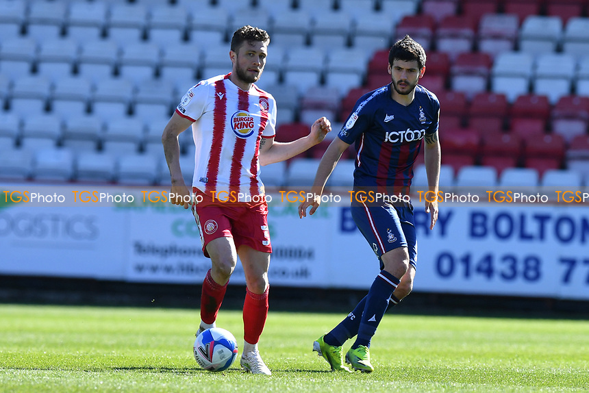Ben Coker of Stevenage FC and Gareth Evans of Bradford City AFC during Stevenage vs Bradford City, Sky Bet EFL League 2 Football at the Lamex Stadium on 5th April 2021