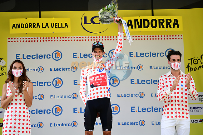 Wouter Poels (NED) Bahrain Victorious takes over the mountains Polka Dot Jersey at the end of Stage 15 of the 2021 Tour de France, running 191.3km from Ceret to Andorre-La-Vieille, France. 11th July 2021.  <br /> Picture: A.S.O./Pauline Ballet | Cyclefile<br /> <br /> All photos usage must carry mandatory copyright credit (© Cyclefile | A.S.O./Pauline Ballet)